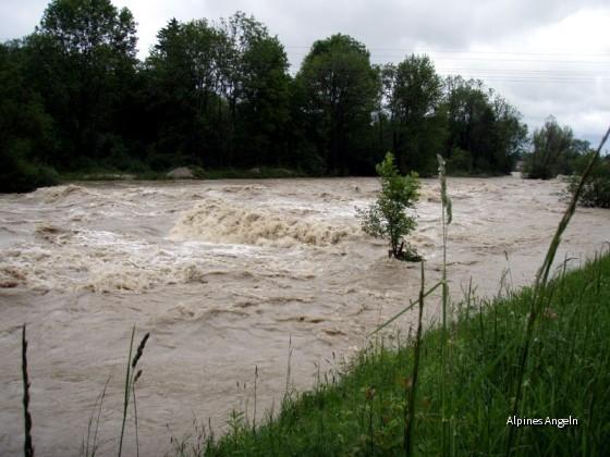 Mangfall Hochwasser Meldestufe 4